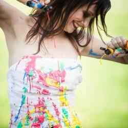 Acryl, Farbe, Wasserfest, Bunt, Hochzeitskleid